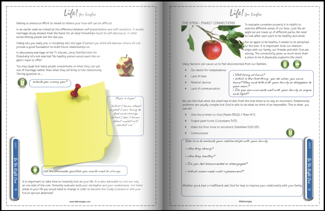life for singles workbook, be the right one, your part of a relationship, how to do relationships well, Christian course