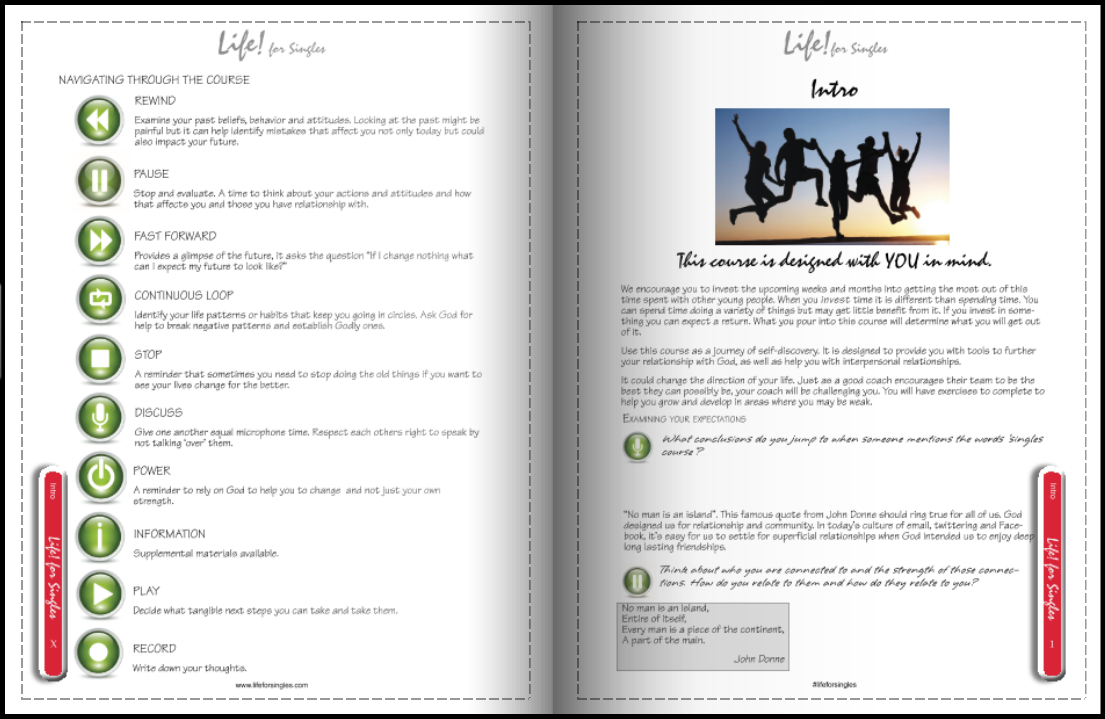 life for singles facilitator's guide/workbook, intro and navigation, discovering your purpose, future and identity, Christian course