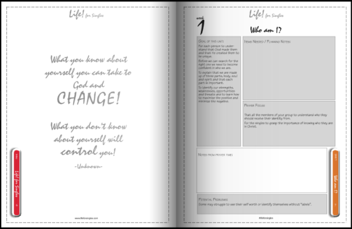 life for singles groupleader's guide/workbook, who am I, discovering your purpose, future and identity, Christian course with leaders notes and instructions.